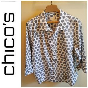 NWOT No Wrinkle Polka Dot Button Blouse Chico's
